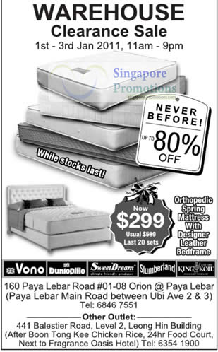 Mattress warehouse clearance sale january 2011 for Beds january sales