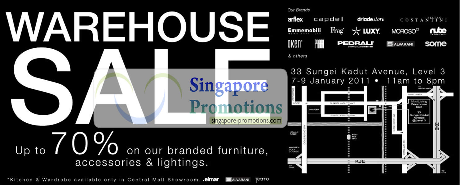 Warehouse sale up to 70 off january 2011 for Furniture w sale warehouse