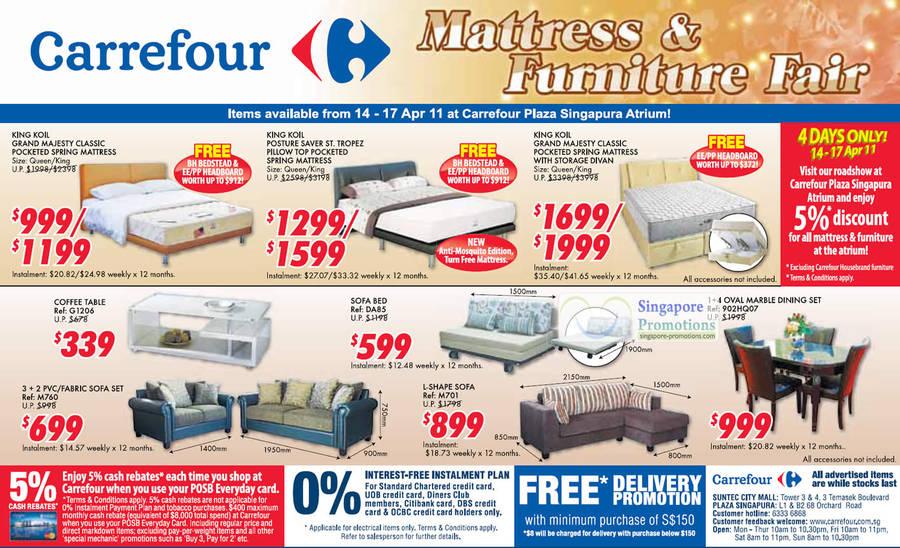 Carrefour mattress furniture fair plaza singapore atrium 14 17 apr 2011 - Promotion couches carrefour ...