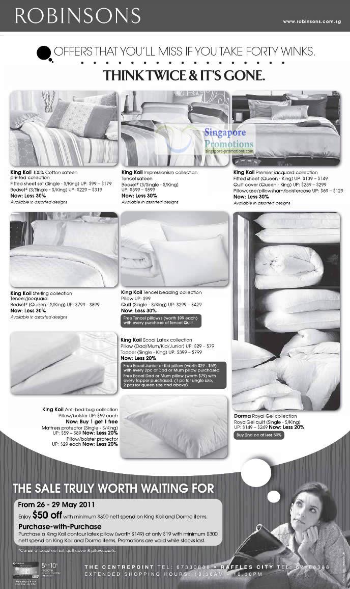 27 May Bed Linen, King Koil, Dorma, Sterling, Cotton, Impressionism, Premier, Jacquard, Tencel, Ecoal Latex, Anti-bed bug, Royal Gel