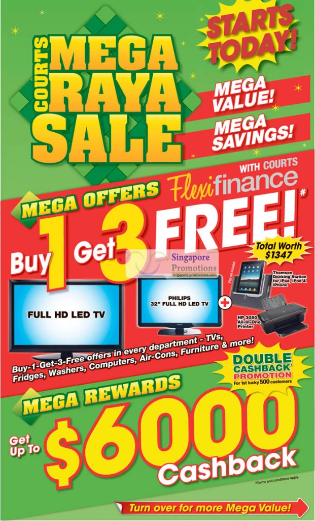 Courts Mega Raya Sale, Buy 1 Get 3 Free In Every Department