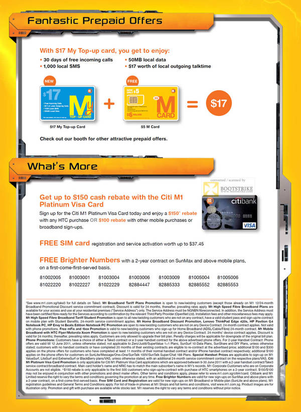 M1 Prepaid My Top-Up Card M Card Citi M1 Platinum Visa