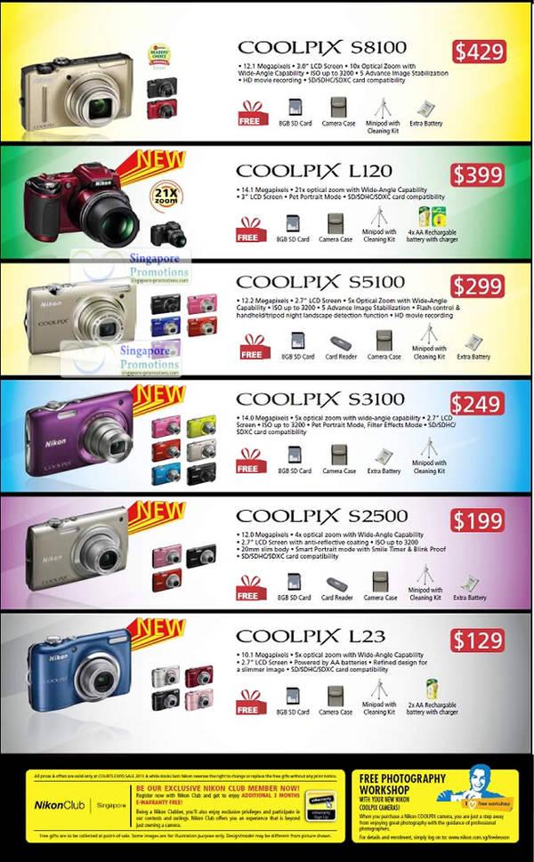 Nikon Digital Cameras, Compact, Coolpix S8100, L120, S5100, S3100, S2500, L23