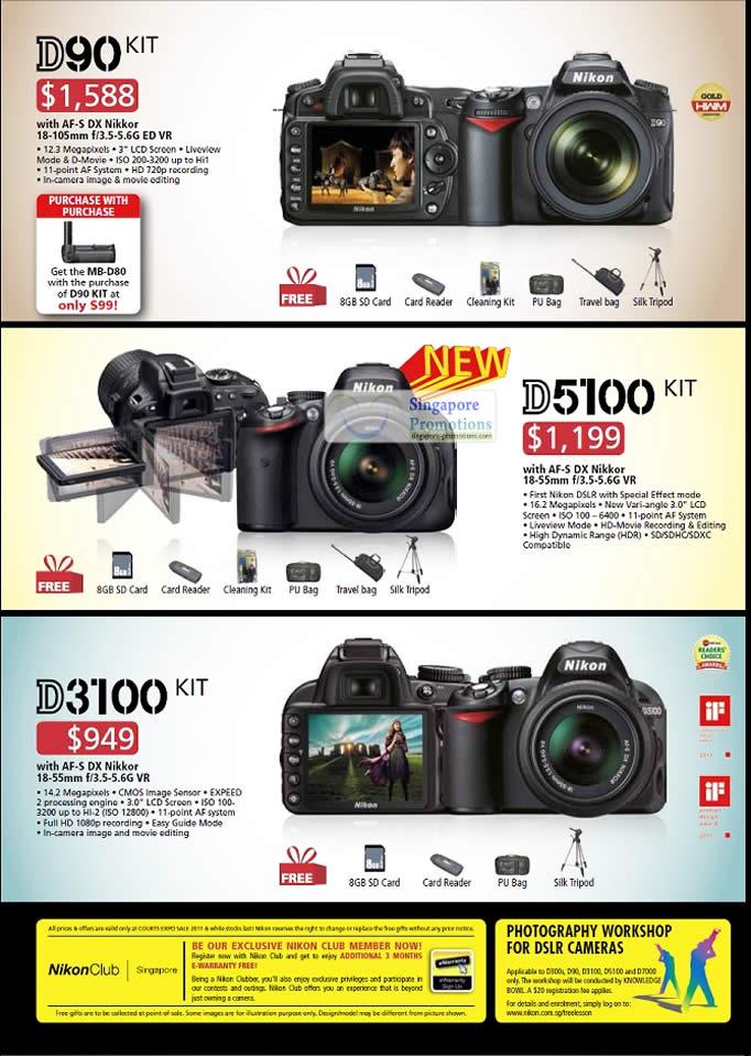 Nikon Digital Cameras DSLR, D90 Kit, D5100, D3100