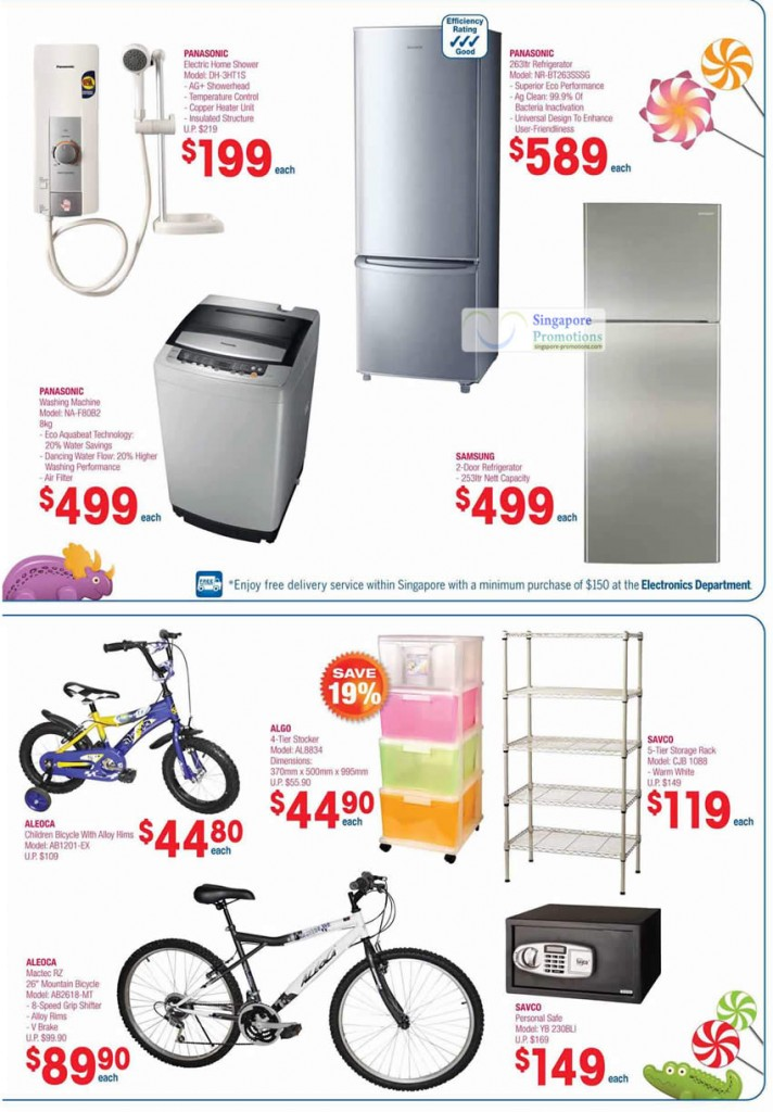 Panasonic Electric Home Shower DH-3HT1S, Fridge NR-BT263SSSG, NA-F80B2 Washing Machine, Samsung, Aleoca Bicycles, Storage Rack, Savco Safe