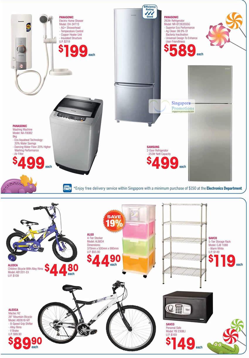 Panasonic Electric Home Shower DH-3HT1S, Fridge NR-BT263SSSG, NA-F80B2 Washing Machine, Samsung, Aleoca Bicycles, Storage Rack, Savco Safe