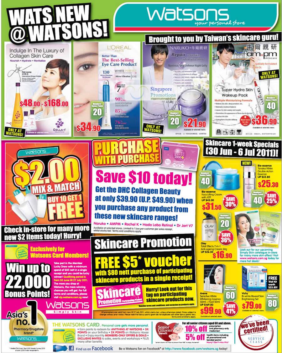 Skin Care Specials, L Oreal Paris, Colla-E, Naruko, AM PM, Bio-Essence, Olay, Vichy, Avene