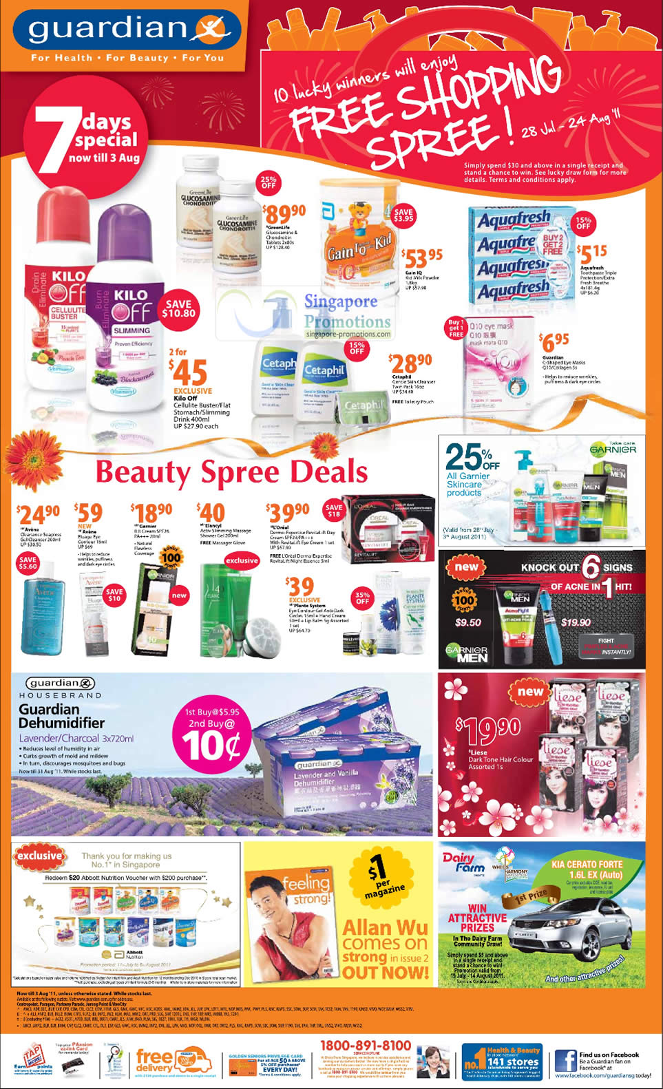 7 Day Specials, GreenLife, Kilo Off Cellulite Buster, Gain IQ, Cetaphil, Avlene, Garnier, LOreal, Liese