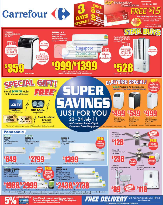 Air Conditioner, Portable, Casement, System 2, Inverter Multi Split, Panasonic, Amasco Ceiling Fan, Daikin, Samsung, Water Heater