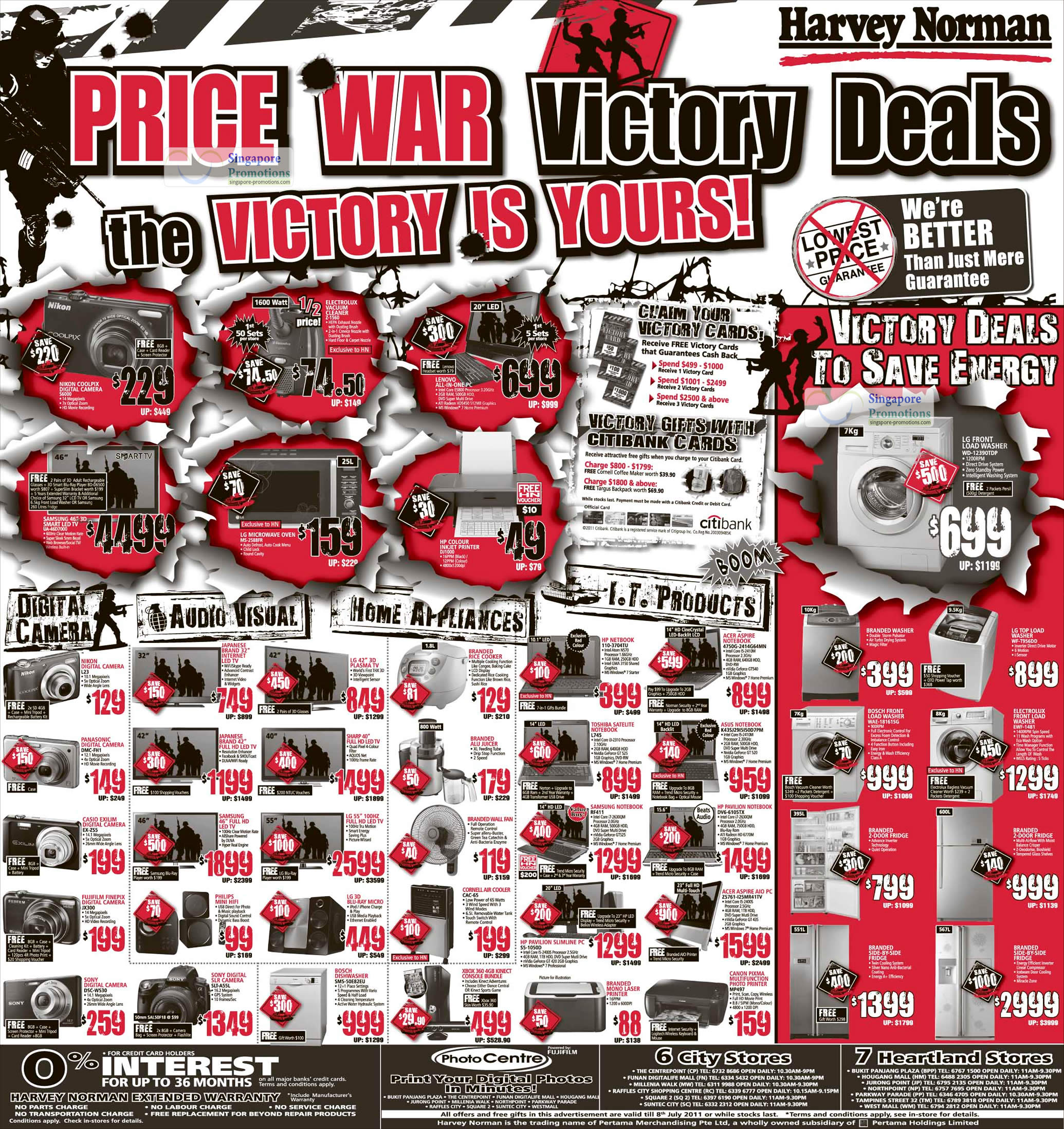 Harvey Norman Electronics, Home Appliances, IT Products, Digital Cameras & Furniture Special Offers 2 - 8 Jul 2011