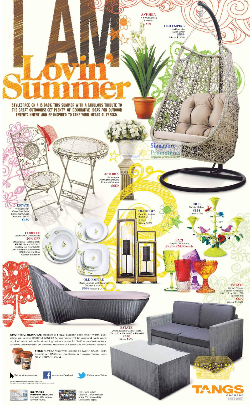 Furniture, Household, Astoria Yucca, Old Empire, La Rochelle Swing Chair, Estate Wrought Table, Hydrangea Pot Column, Rice Candle Holder, Corelle, Oddjects Candle Holders, Urban Classic, Coffee Table