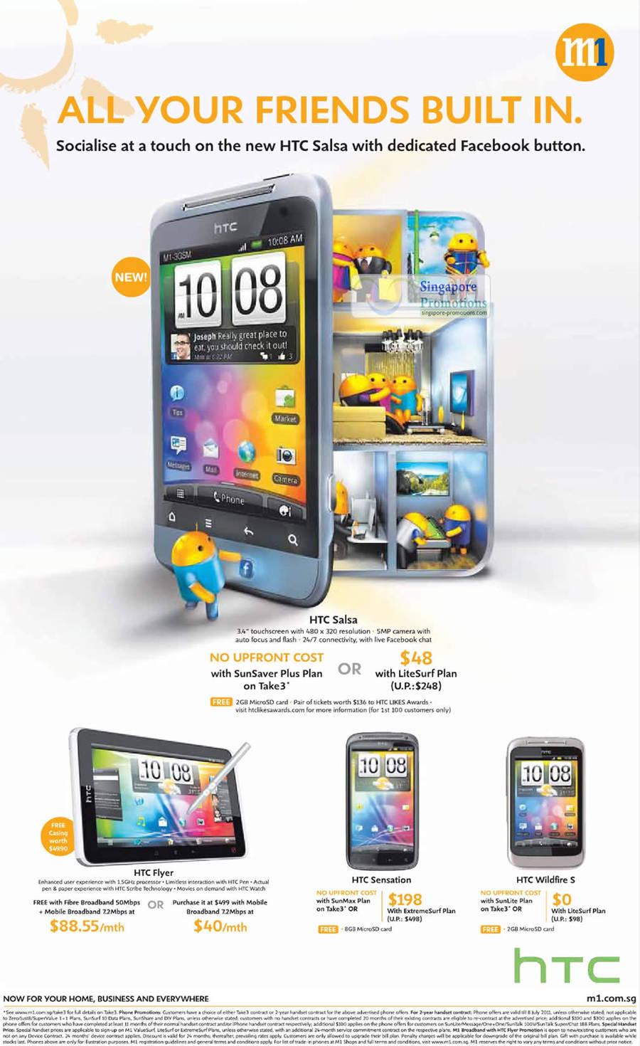 HTC Salsa, HTC Flyer, HTC Sensation, HTC Wildfire S