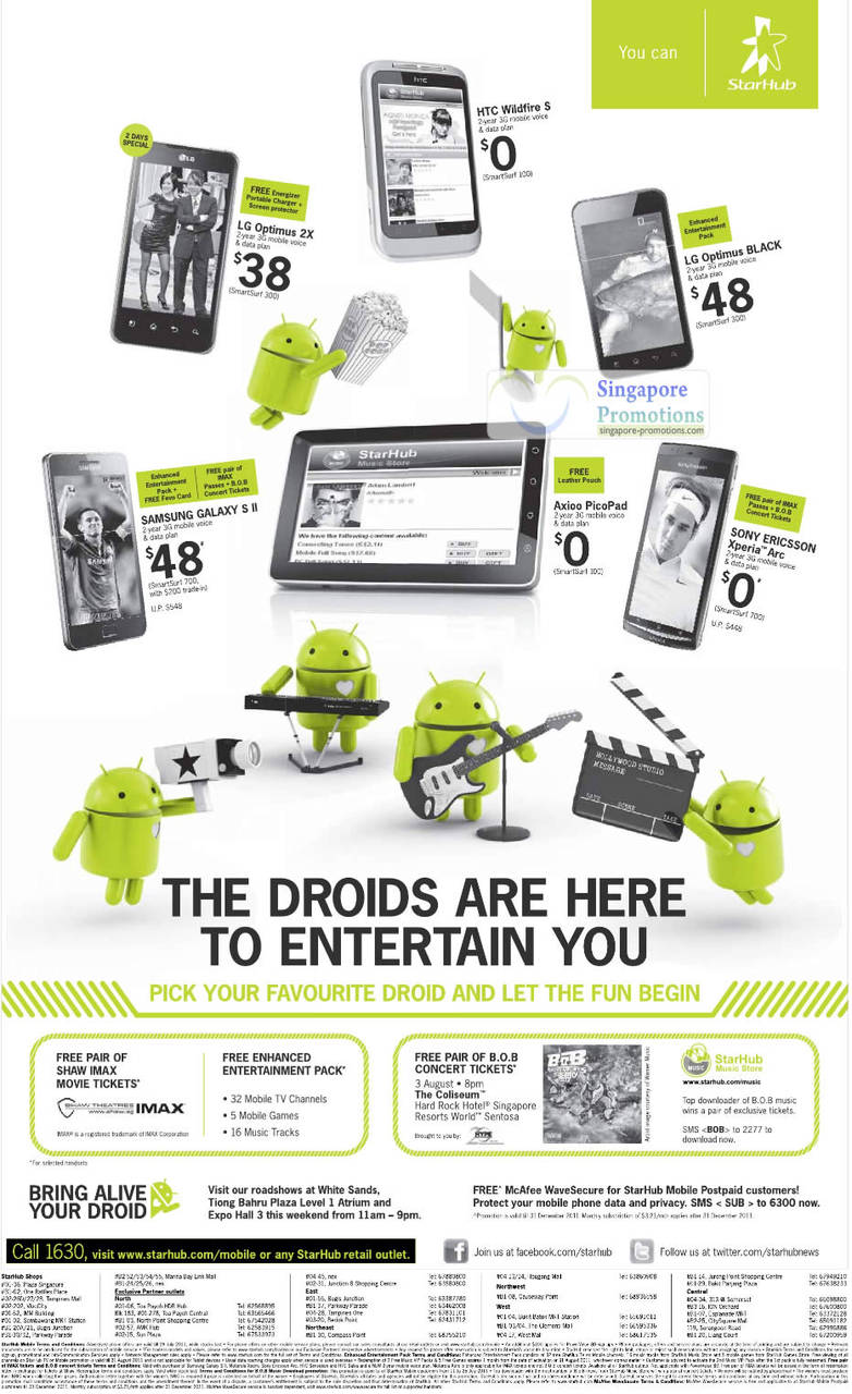 LG Optimus 2X, HTC Wildfire S, LG Optimus Black, Samsung Galaxy S II, Axioo PicoPad, Sony Ericsson Xperia Arc, BOB Concert Tickets, Shaw Imax
