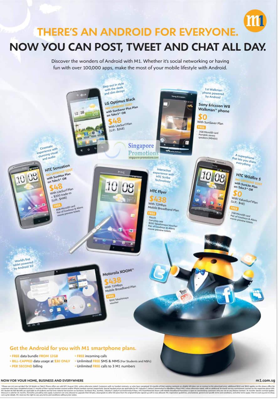 LG Optimus BLack, Sony Ericsson W8 Walkman, HTC Sensation, HTC Flyer, HTC Wildfire S, Motorola Xoom