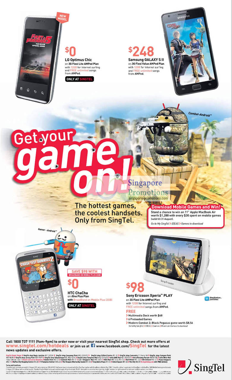LG Optimus Chic, Samsung Galaxy S II, HTC ChaCha, Sony Ericsson Xperia PLAY