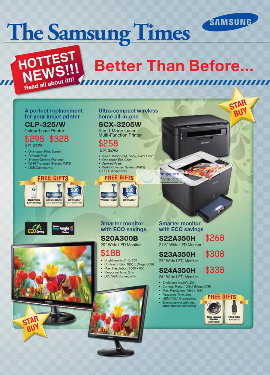 Laser Printers, LED Monitors, CLP-325 W, SCX-3205W, S20A300B, S22A350H, S23A350H, S24A350H