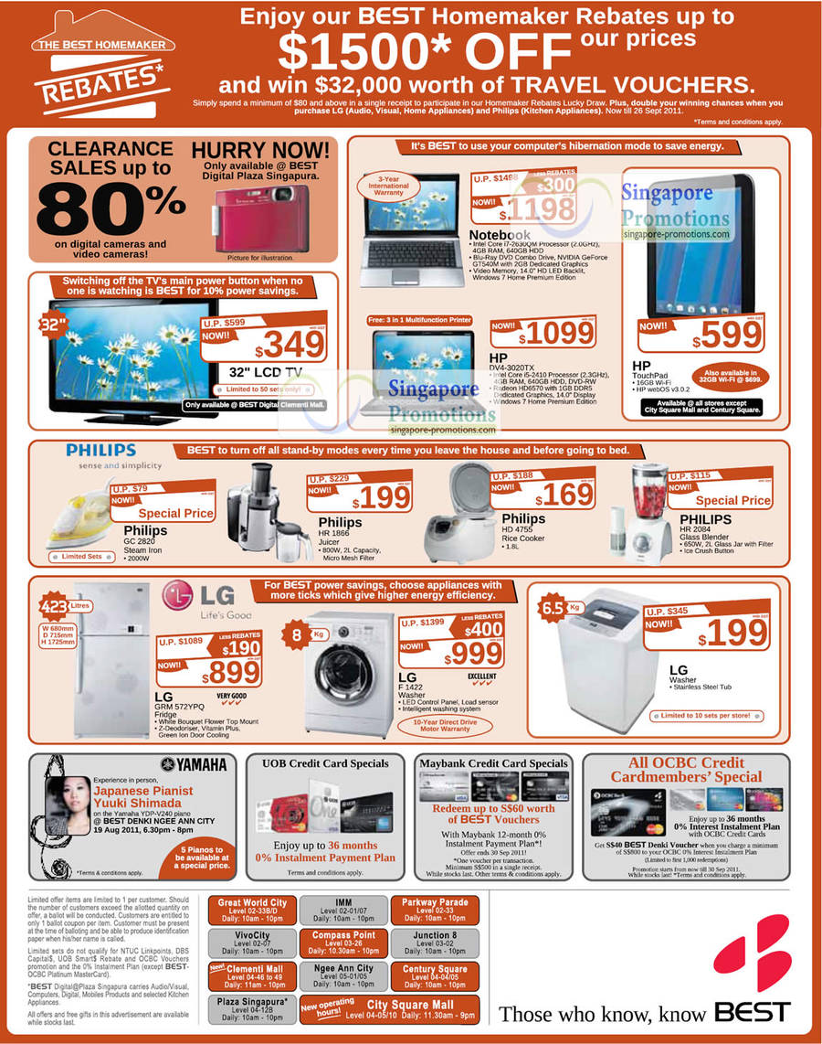 19 Aug LCD TV, Notebooks HP DV4-3020TX, HP TouchPad, LG Fridge GRM 572YPQ, F1422 Washer