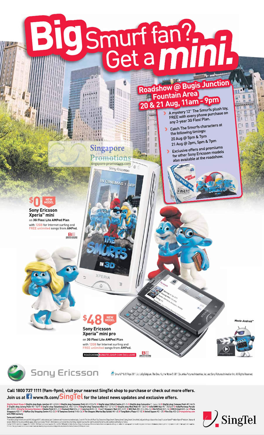 Bugis Junction Roadshow, Free Smurfs Plush Toy, Meet Smurfs Characters, Sony Ericsson Offers