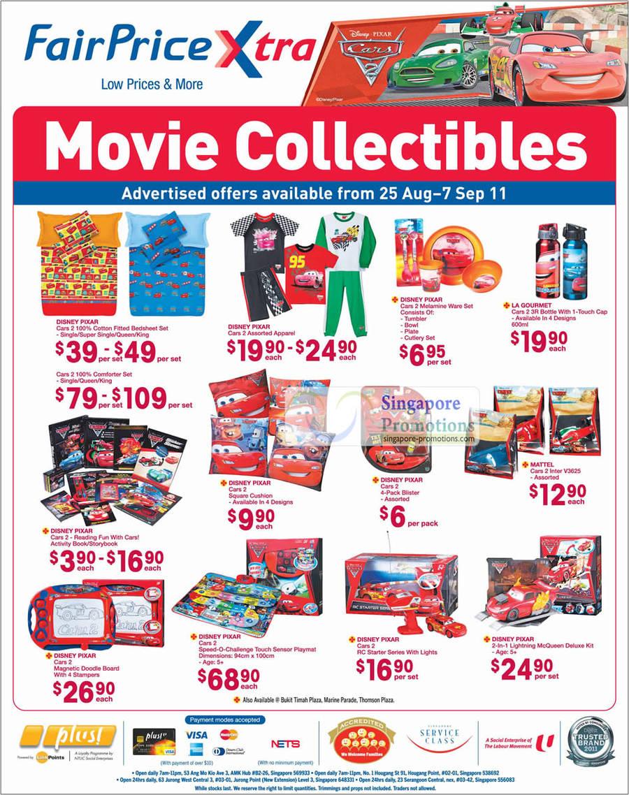 Cars 2 Movie Collectibles, Disney Pixar, La Gourmet 3R Bottle, McQueen Deluxe Kit, Magnetic Doodle Board, Bedsheet Set