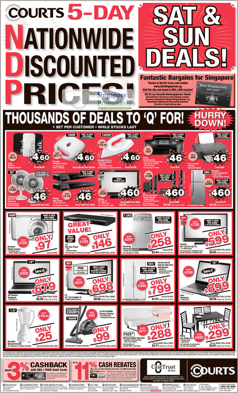 Crazy Deals, iStyle, Delonghi ASF726 Table Fan, Philips DVD Player, Toshiba 32 LED TV, LG 3D Blu Ray Home, Printer, Digital Camera, Washing Machine, TV, HP Pavilion Notebook, Acer