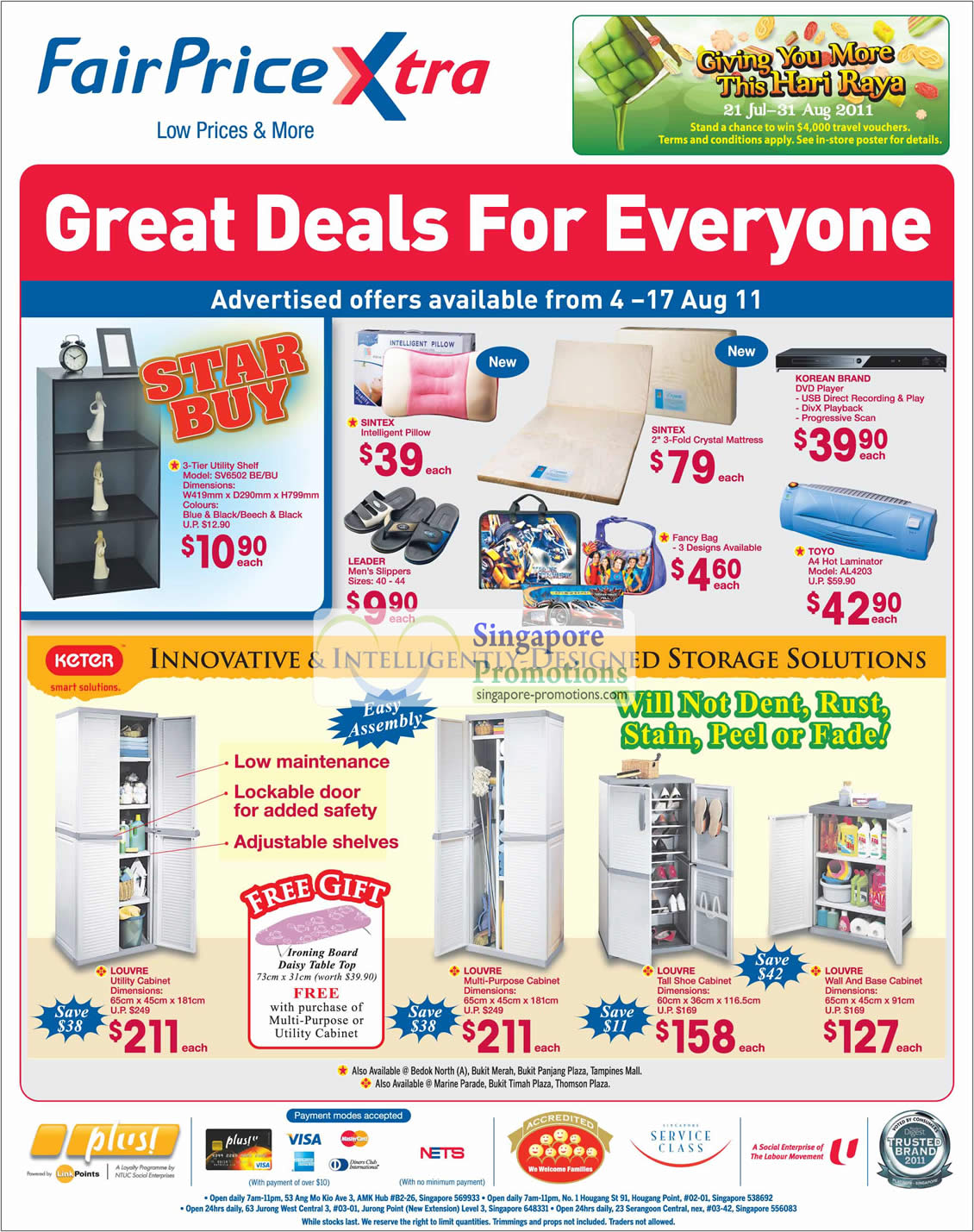 Fairprice Bedding Furniture Philips Kitchenware Electronics Sale 4 17 Aug 2011