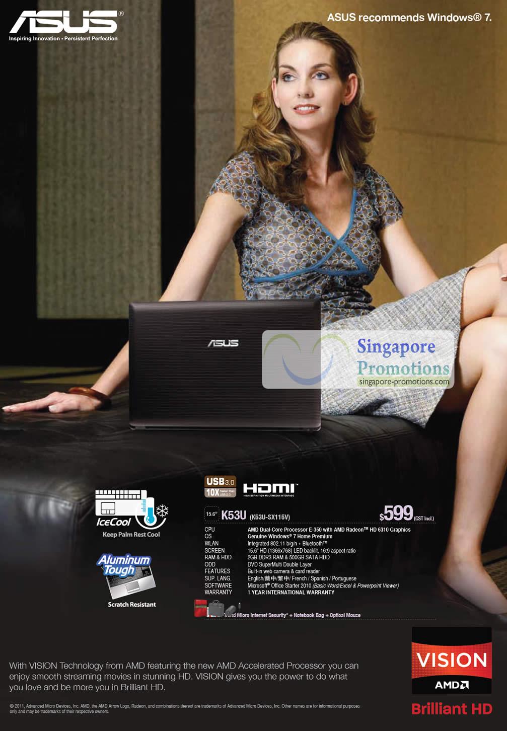 Notebook K53U-SX116V