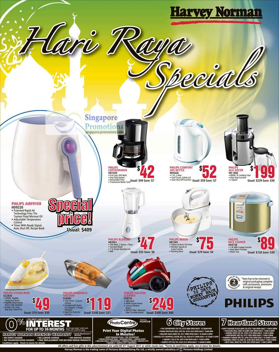 Philips Coffeemaker HD7450, Comfort Jug Kettle HD4646, Alu Juicer HR-1866, Blender HR001, Mixer HR1565, Rice Cooker HD4738, Steam Iron GC2820, Vacuum Cleaner FC6093, FC8734