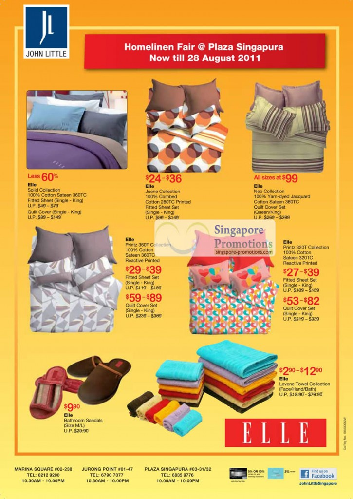 Plaza Singapura, Elle, Solid Collection, Juene, Neo, Printz 360T, 320T, Bathroom Sandals, Levene Towel