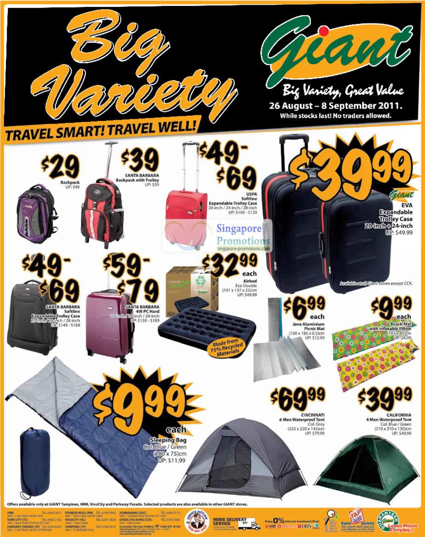 Santa Barbara Backpack, USPA Softline Expandable Trollery Case, EVA, Airbed Eco Double, Beach Mat, Sleeping Bag, Cincinnati Waterproof Tent, California