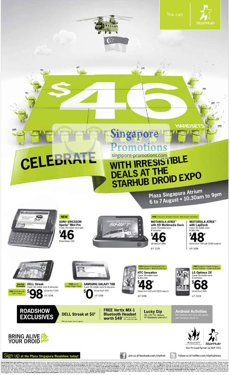 Starhub Droid Expo Plaza Singapura, Sony Ericsson Xperia Mini Pro, Motorola Atrix, LapDock, Dell Streak, Samsung Galaxy Tab, HTC Sensation, LG Optimus 2X
