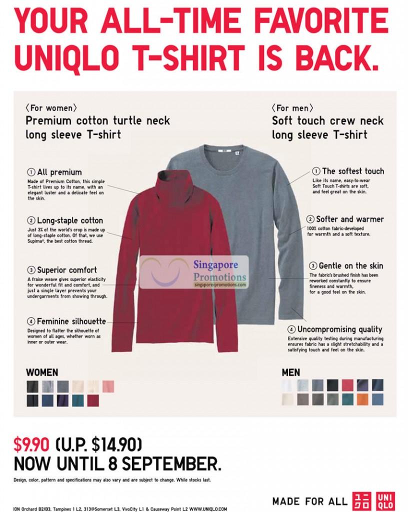 Women Premium Cotton Turtle Neck Long Sleeve T Shirt, Men Soft Touch Crew Neck Long Sleeve T Shirt