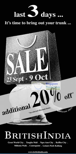 7 Oct Last 3 Days Additional 20 Percent Off