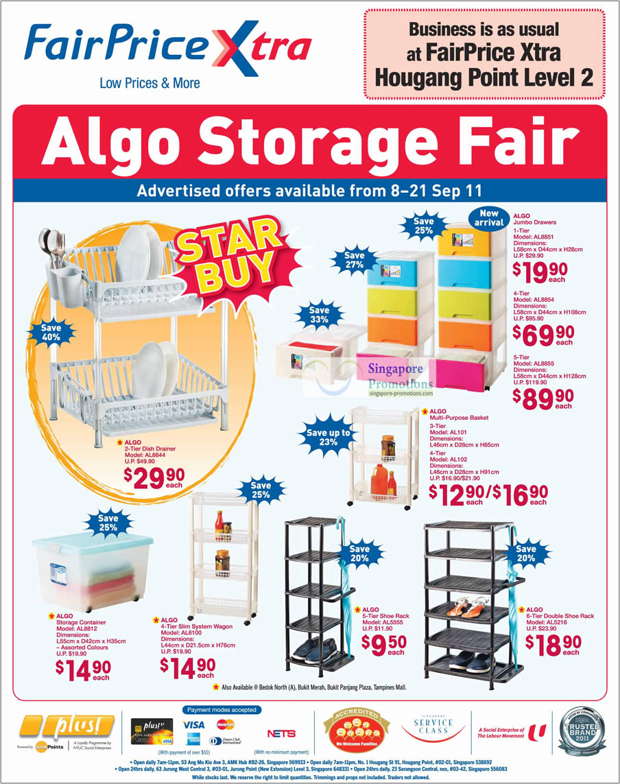Algo Storage Fair, Jumbo Drawers AL8851 AL8854 AL8855, Basket AL101 AL102, Dish Drainer AL6644, Storage Container AL8812
