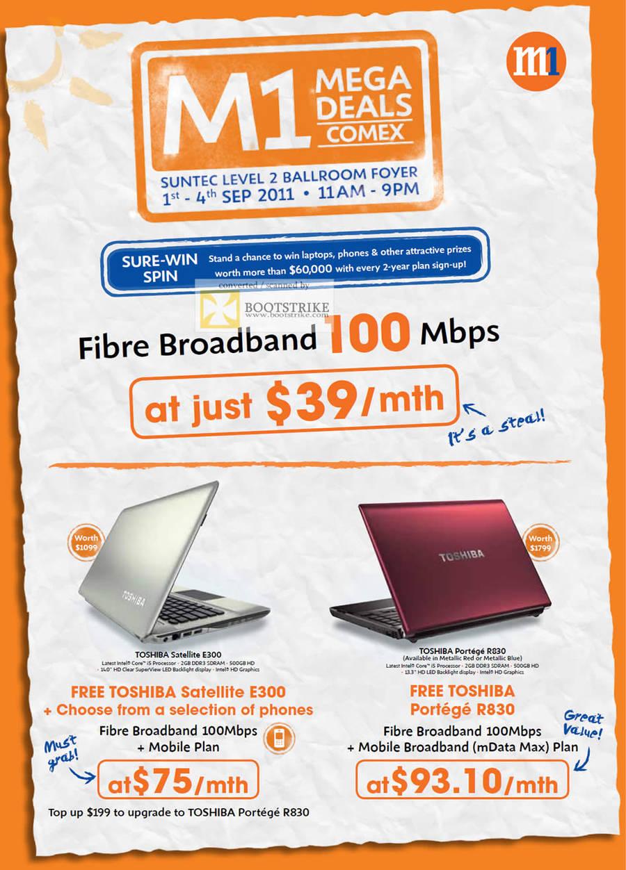 M1 Fibre Broadband 100Mbps Toshiba Satellite E300 Portege R830