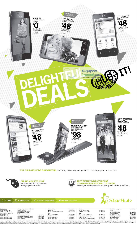 Nokia X7, HTC Evo 3D, LG Optimus 2X, HTC Sensation, Motorola Atrix with LapDock, Sony Ericsson Xperia Arc