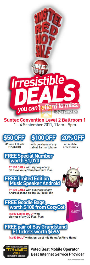 Singtel Irresistible Deals Apple iPhone4 Smartphone Free Special Number Android Music Speaker CozyCot Goodie Bags Bay Grandstand F1 Tickets