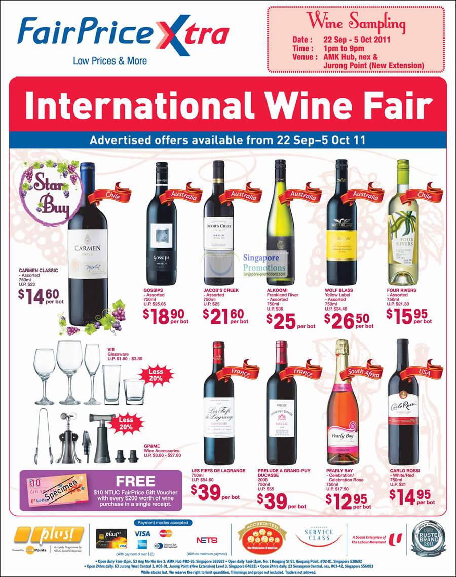 Wine Chile Carment Classic, Australia Gossips, Jacobs Creek, Alkoomi Frankland River, Wolf Blass Yellow Label, Four Rivers, France Les Fiefs De Lagrange