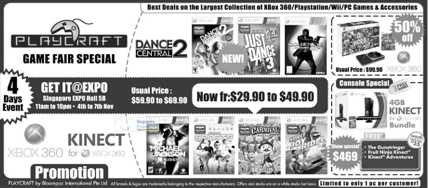 2 Nov Playcraft Game Fair, Xbox 360 Kinect Bundle, Dance Central 2, Games