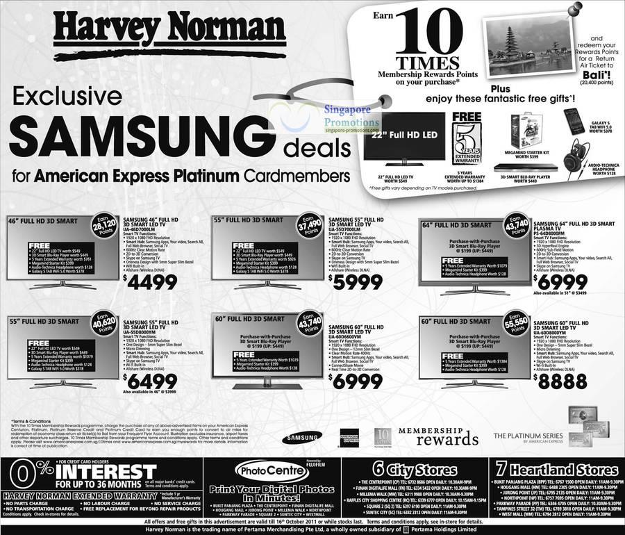 American Express Samsung LED TV, UA-46D7000LM, UA-55D8000YM, UA-55D7000LM, UA-60D6600VM, Plasma PS-64D8000FM, UA-60D8000YM