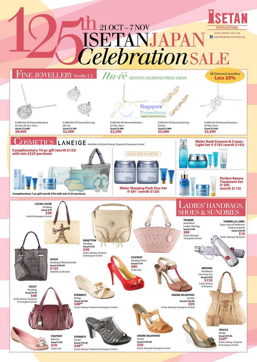 Diamond Jewellery Nu-Ve Moving Diamond From Japan, Cosmetics Laneige, Handbags Cache Cache, Guess, Benetton, Tessere, Sisley
