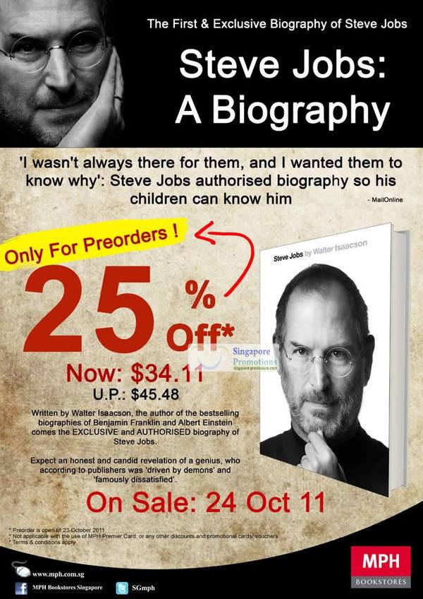 MPH Bookstores 25% Off Steve Jobs Biography Book Pre-Order 12 – 23 ...