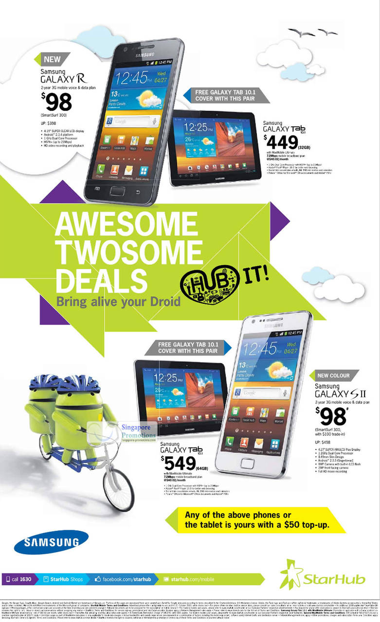 Pair Deals, Samsung Galaxy R, Samsung Galaxy Tab 10.1, Samsung Galaxy S II