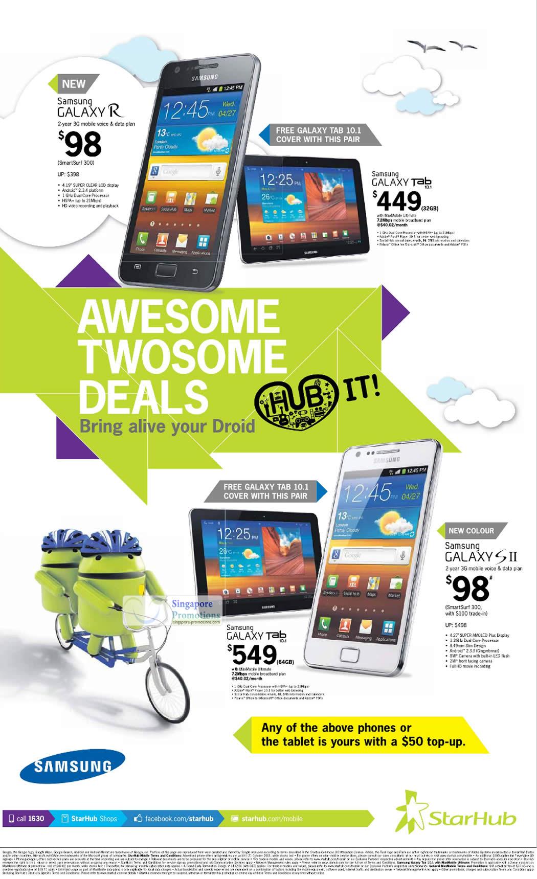 Pair Deals, Samsung Galaxy R, Samsung Galaxy Tab 10.1, Samsung Galaxy S II