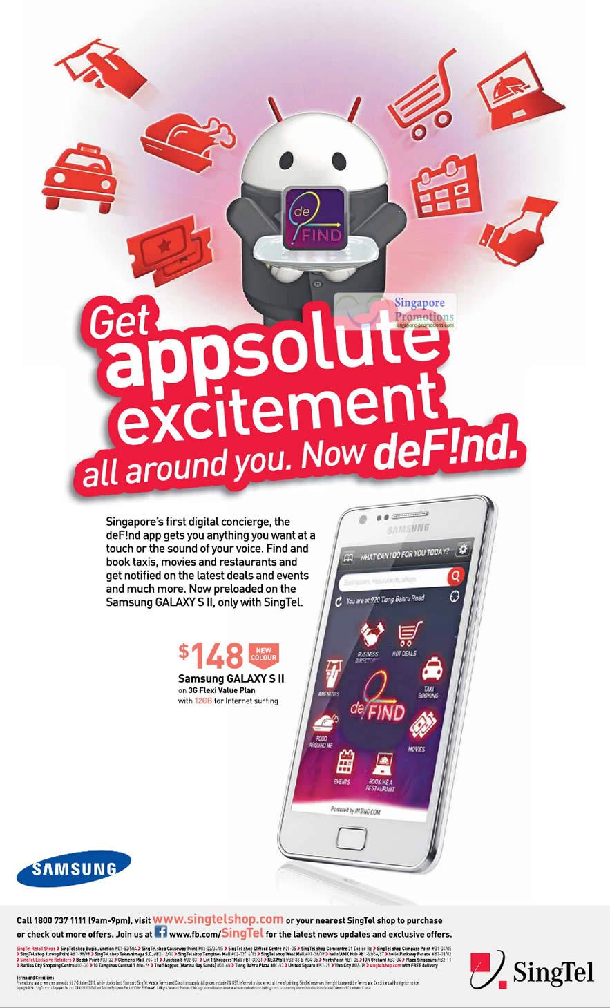 Samsung Galaxy S II White, DeFind App