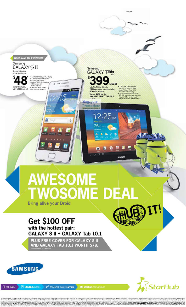 Samsung Galaxy S II White, Samsung Galaxy Tab 10.1, Pair Deal