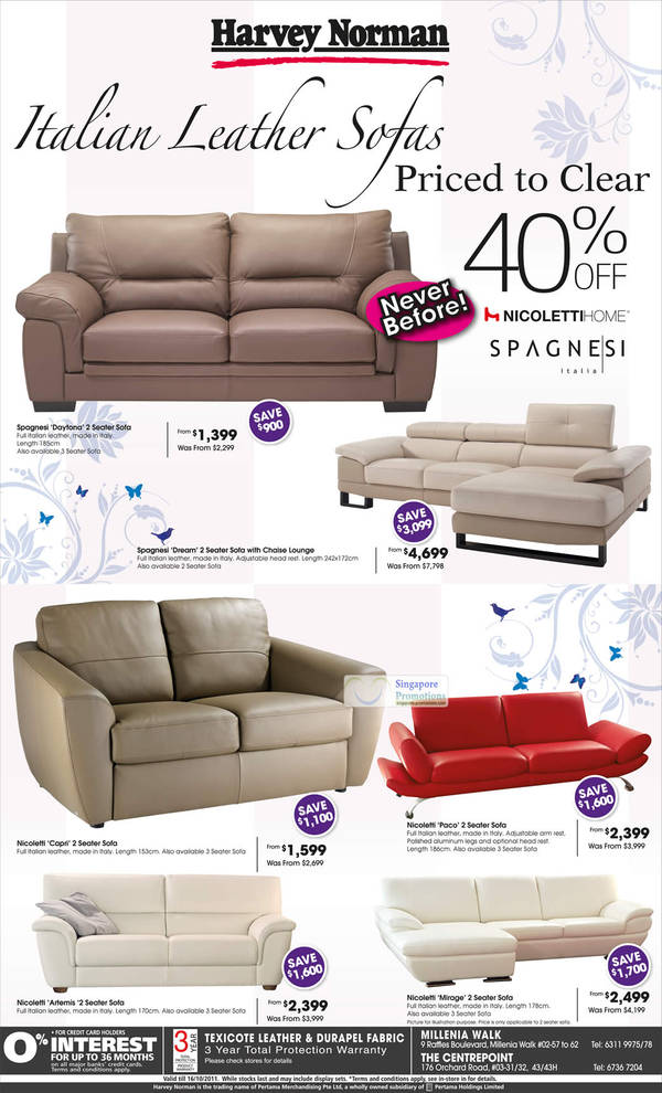 Sofa Italian Leather Sofa, Nicoletti Home Spagnesi Italia Daytona, Dream, Capri, Paco, Artemis, Mirage