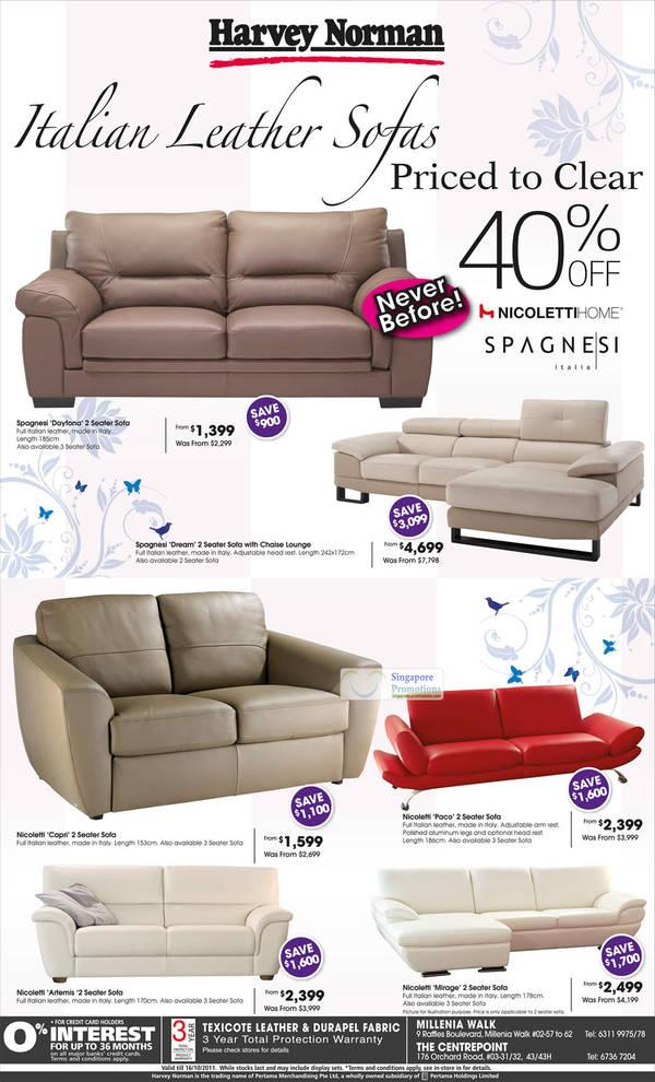 Sofa Italian Leather Sofa, Nicoletti Home Spagnesi Italia Daytona, Dream, Capri, Paco, Artemis, Mirage
