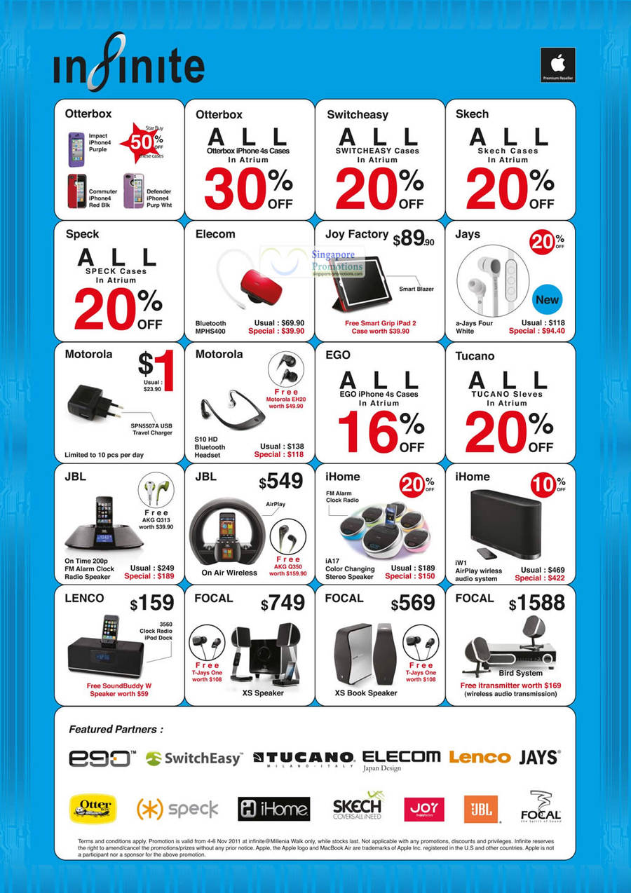 Accessories, Elecom Bluetooth MPHS400, Joy Factory, Jays a-Jays Four, Motorola SPN5507A USB Travel Charger, Motorola S10 HD Bluetooth Headset, JBL On Tme 200p, JBL On Air Wireless, iHome IA16 Color Changing Speaker, iHome iW1, Lenco 3560, Focal XS Speaker, Focal XS Book Speaker, Focal Bird System
