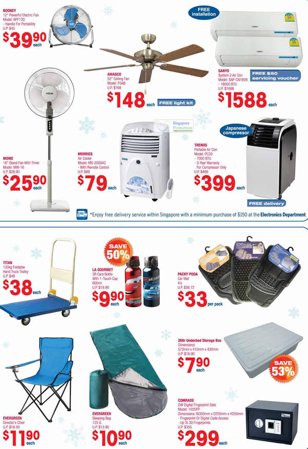 Booney Electric Fan BPF120, Amasco Ceiling Fan F5AB, Sanyo System 2 Air Conditioner SAP-CN1826, Trends Portable Air Conditioner PC20, Titan 120kg Foldable Hand Truck Trolley, Packy Poda Car Mat, Mowe Standing Fan MW-16, Morries Air Cooler MS-2000AC, Comrade DW Digital Fingerprint Safe 1025FP