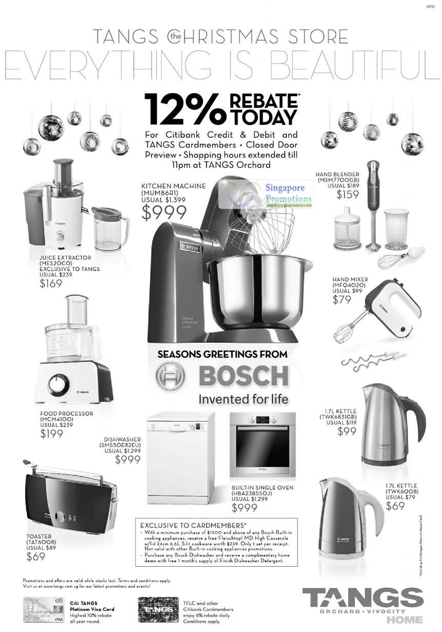 Bosch, MES20C0 Juice Extractor, MUM86R1 Kitchen Machine, Hand BLender MSM7700GB, Hand Mixer MFQ4020, Food Processor MCM4100, Dishwasher SMS50E82EU, Toaster TAT6008, Built-In Single Oven HBA238550J, 1.7L Kettle TWK6831GB, 1.7L Kettle TWK6008